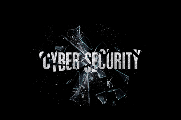 The words cyber security like cracked glass