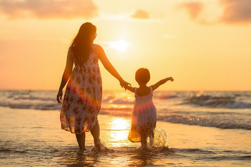 A mother and daughter in the sea