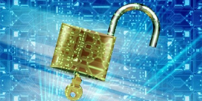 A gold lock on a blue background with digital code